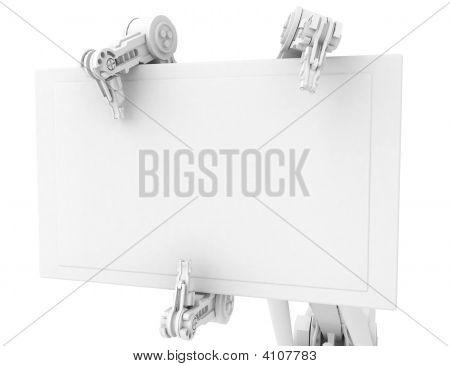 3 Finger Arm, Big Sign, White