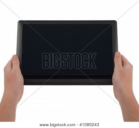 Large Tablet Computer With Blank Screen Held