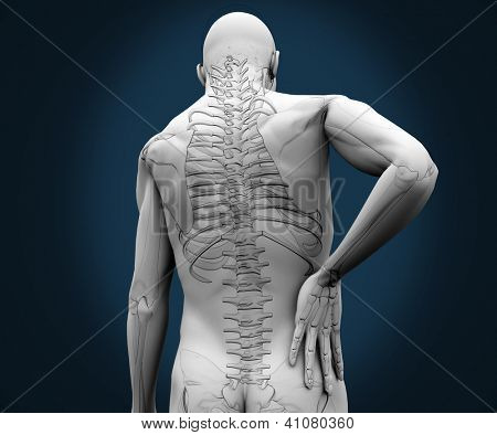 Skeleton having pain on his back against a blue background