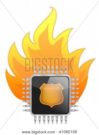 Burning Processor Chip
