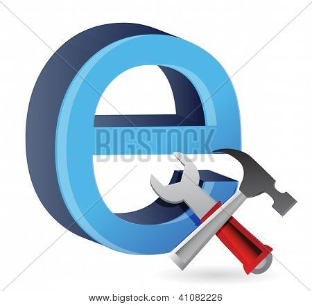 Tools With Symbol For Internet.