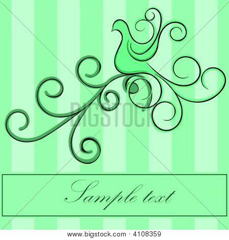 Green Bird With Swirls