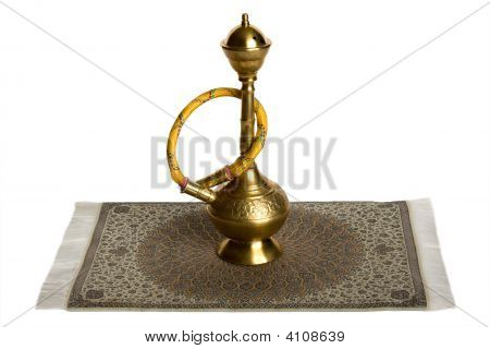 Hookah On Iranian Rug. Isolated On White.