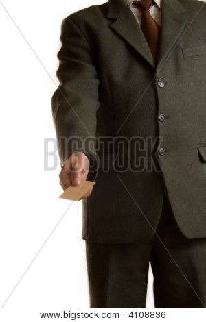 Businessman Gives Blank Card