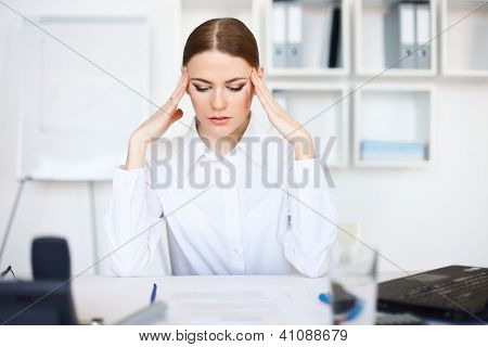 Tired Young Business Woman With Laptop Computer