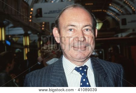 BLACKPOOL, ENGLAND - OCTOBER 10: Robin Esser, former Editor of the Sunday Express newspaper, attends the Conservative party conference on October 10, 1989 in Blackpool,Lancashire.