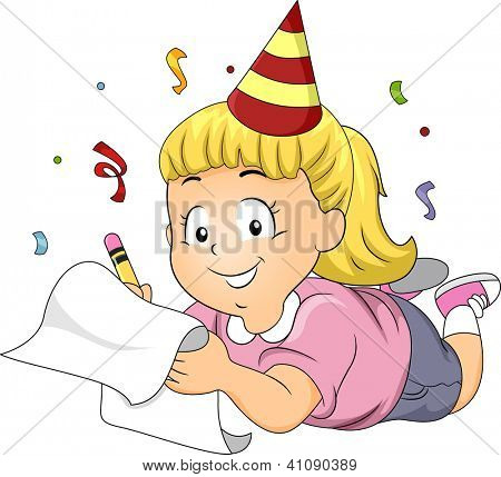 Illustration of a Girl Wearing a Party Hat Writing Her New Year's Resolutions