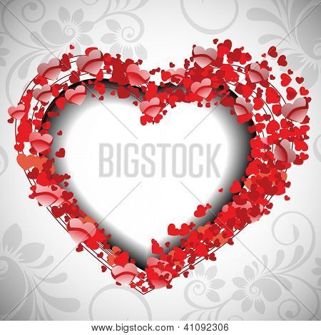 Valentines Day greeting card or love card decorated with small red heart shape on grey floral background. EPS 10.