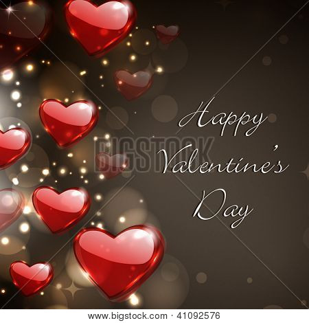 Valentine's Day  greeting card, gift card or love card with red glossy heart on brown sparkling background.  EPS 10.
