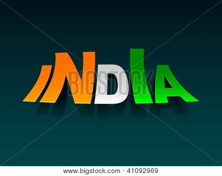 Text India in national flag color or tri colors. EPS 10.