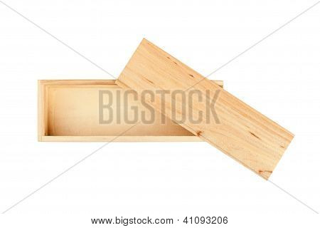 Wood Box Isolated On The White Background