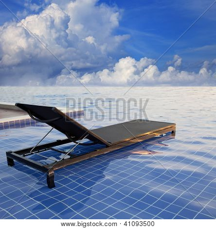 this file made from retouching as a pool bed and dramatic sky