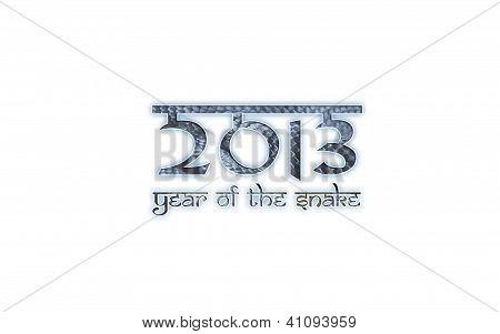 2013 year of the snake sanskrit like font on white background