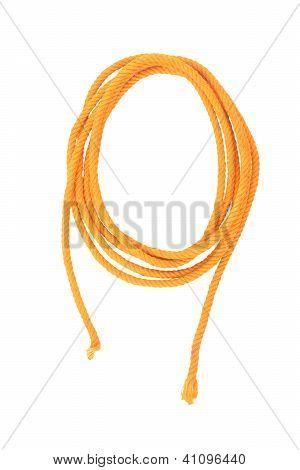 Yellow Cotton Fiber Thread Isolated On White Background