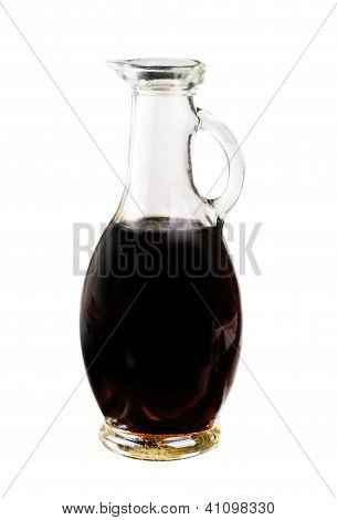 Small Decanter With Balsamic Vinegar Isolated On The White Background