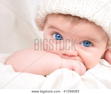 Happy Little Baby Child Sucking Hand