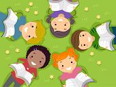 stock photo of storybook  - Illustration of Kids Reading Books in an Open Field - JPG