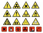 image of hazard symbol  - Chemical hazard signs vector illustration on white background - JPG