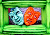 pic of mardi-gras  - theater masks on carnival float - JPG