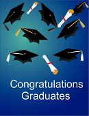 stock photo of senior prom  - Congratulations Graduates with a hat toss and diplomas - JPG
