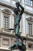 stock photo of perseus  - Statue of Perseus and Medusa in Signoria Square of Florence - JPG