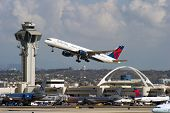 LOS ANGELES, CA - OCTOBER 23: A Delta Airlines passenger jet takes off from Los Angeles Internationa
