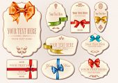 Set of vector vintage labels with gift bows and ribbons