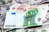 Money Of Different Countries: Dollars, Euros And Modern Russian Roubles