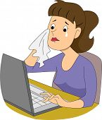 image of encoding  - Illustration of a girl writer crying in front of her computer - JPG