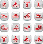 stock photo of step aerobics  - Fitness and Sport vector icon set for web and mobile - JPG