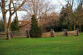 stock photo of split rail fence  - image of a split rail fence in a rural setting - JPG