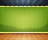 image of baseboard  - Illustration of a cartoon home interior room or office with wood flooring ground and empty green striped wallpaper behind - JPG