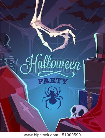 Creepy skeleton hand. Halloween card\poster. Vector illustration.