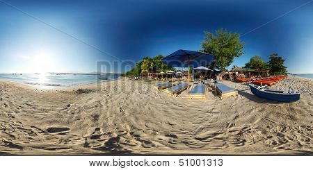 Spherical, 360 degrees panorama of tropical beach on the island of Trawangan, Indonesia
