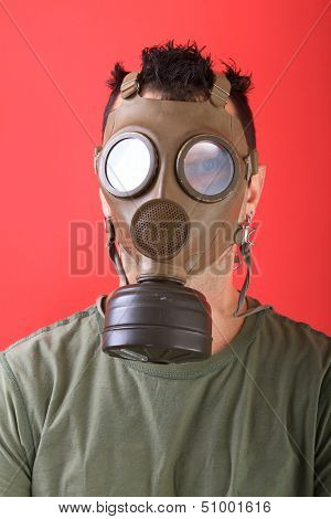 man with gas mask, polution chemical concept