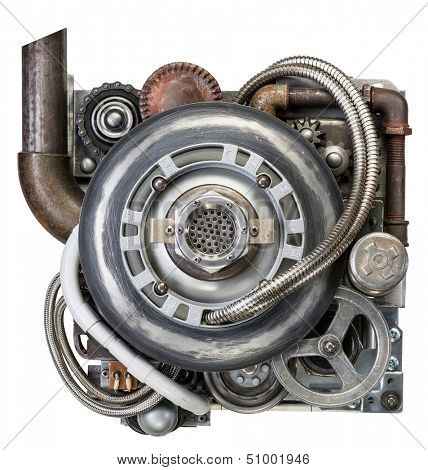 Stylized metal collage of engine.