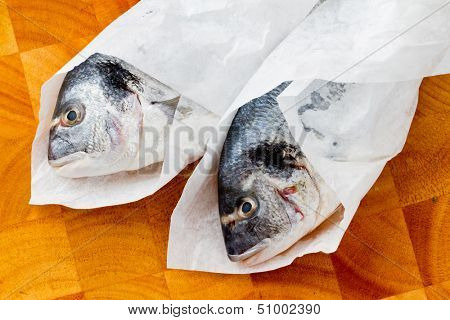 Seafood, fish - fresh sea dorada in cuisine