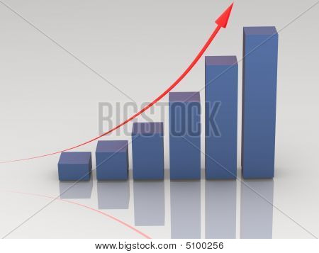 Blue Rising Bar Chart On White