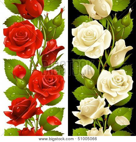 Vector red and white rose vertical seamless pattern isolated on background