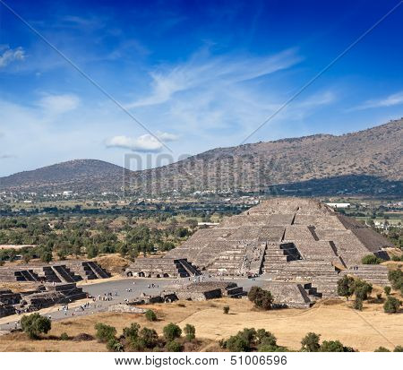 Famous Mexico landmark tourist attraction - Pyramid of the Moon, view from the Pyramid of the Sun. Teotihuacan, Mexico