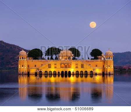 Rajasthan landmark - Jal Mahal (Water Palace) on Man Sagar Lake in the evening in twilight.  Jaipur, Rajasthan, India