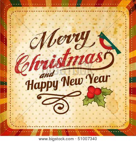 Vector retro Christmas card with bird