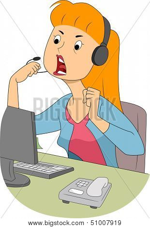 Illustration of an Angry Girl Shouting Through Her Microphone