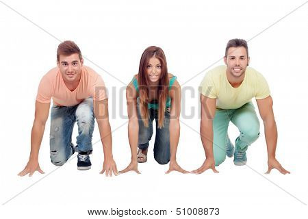 Three young friends prepared for the start of the race isolated on a white background