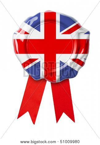 British or UK flag seal with ribbon
