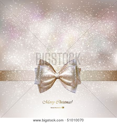 Christmas greeting card with bow.
