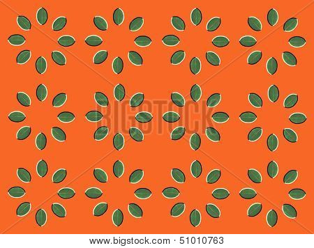 Optical illusion: rotation of circles made from green leaves isolated on orange background