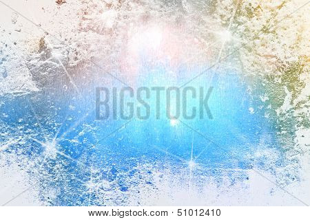 Abstract textured Christmas background: blue and white patterns / lights. For art texture, grunge design, and vintage paper / border frame