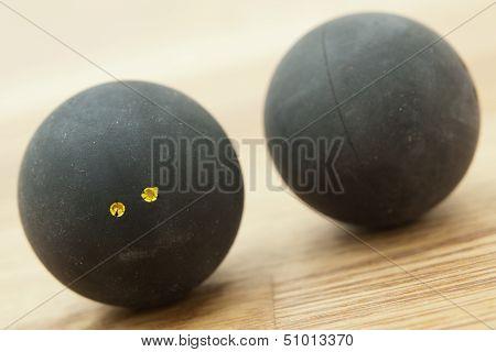 Two Double Yellow Dot Squash Balls.