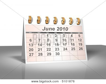 Desktop Calendar (3D). June, 2010.